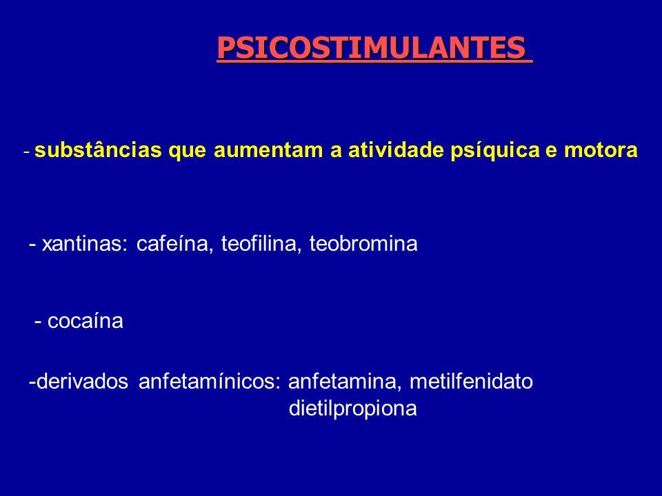 PSICOSTIMULANTES - xantinas: cafeína, teofilina, teobromina - cocaína
