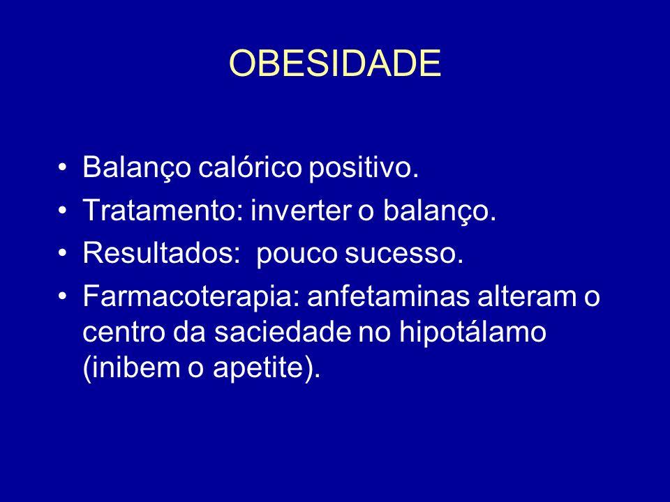 OBESIDADE Balanço calórico positivo. Tratamento: inverter o balanço.