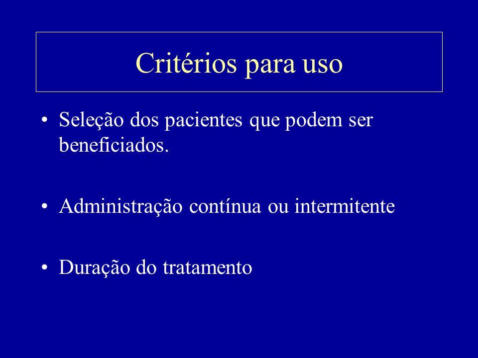 Critérios para uso Seleção dos pacientes que podem ser beneficiados.
