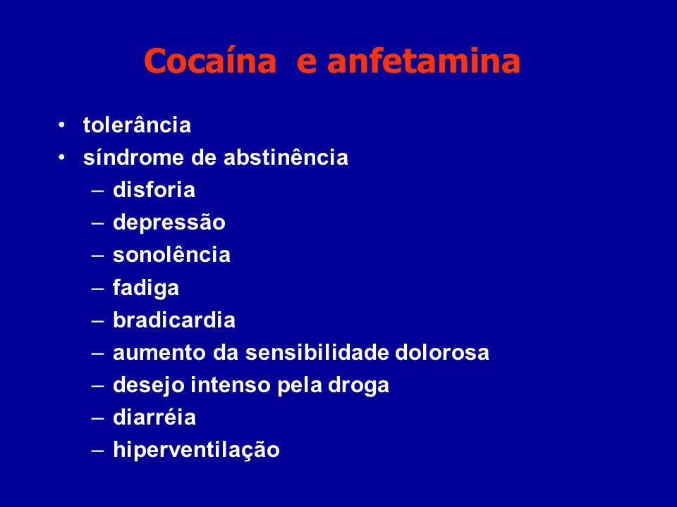 Cocaína e anfetamina tolerância síndrome de abstinência disforia