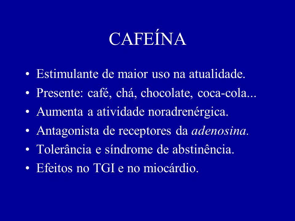 CAFEÍNA Estimulante de maior uso na atualidade.