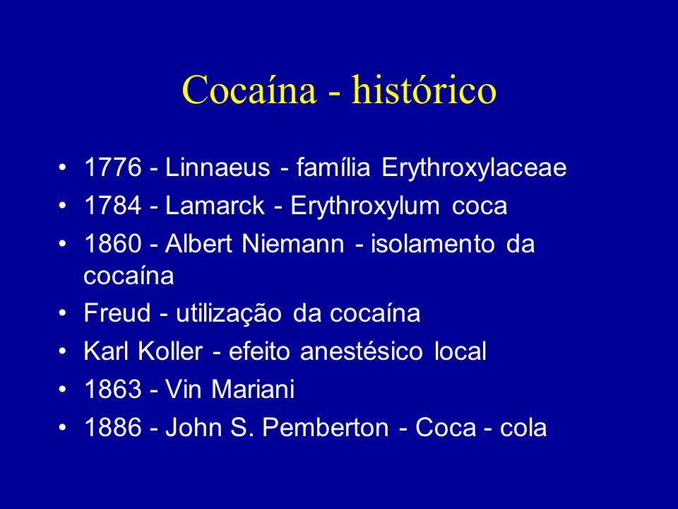 Cocaína - histórico 1776 - Linnaeus - família Erythroxylaceae