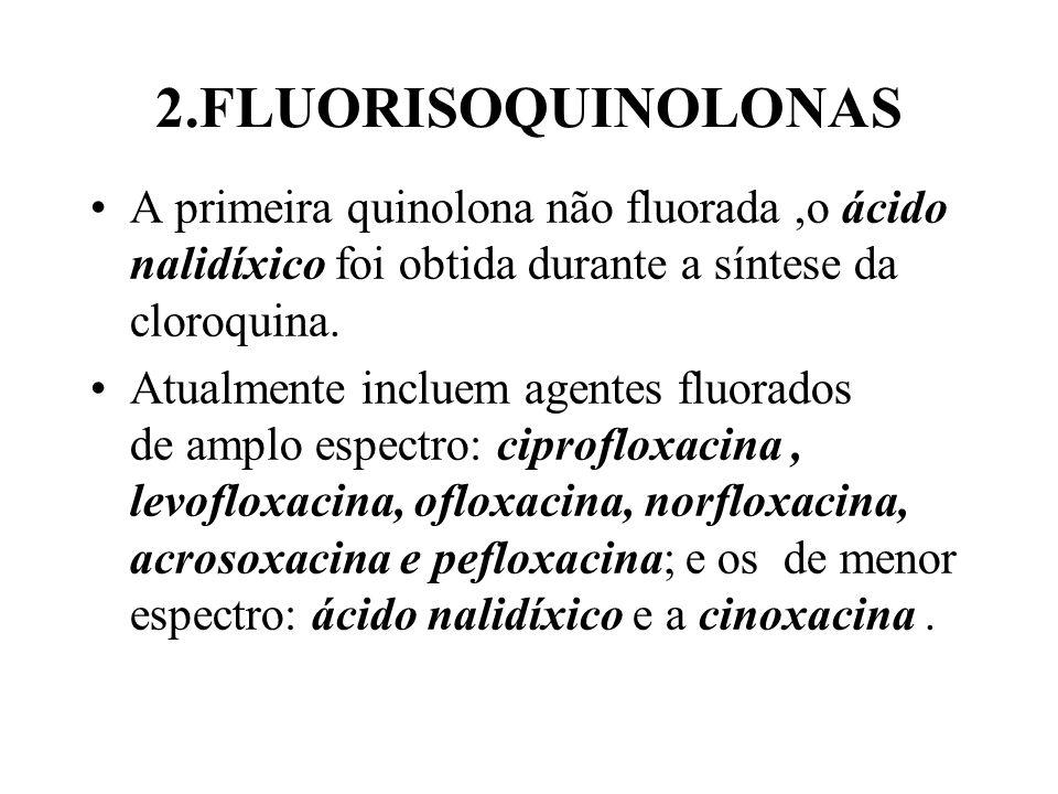 2.FLUORISOQUINOLONAS A primeira quinolona não fluorada ,o ácido nalidíxico foi obtida durante a síntese da cloroquina.