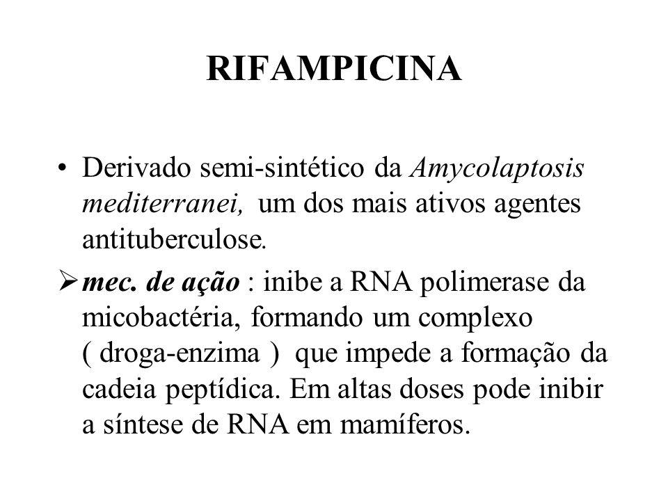 RIFAMPICINA Derivado semi-sintético da Amycolaptosis mediterranei, um dos mais ativos agentes antituberculose.