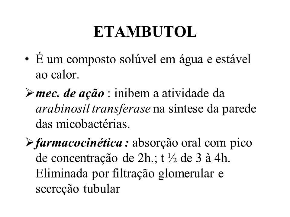 ETAMBUTOL É um composto solúvel em água e estável ao calor.