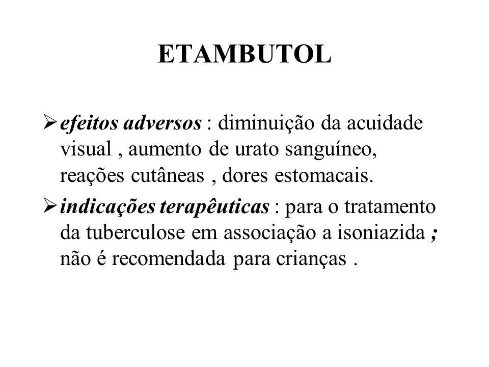 ETAMBUTOL efeitos adversos : diminuição da acuidade visual , aumento de urato sanguíneo, reações cutâneas , dores estomacais.