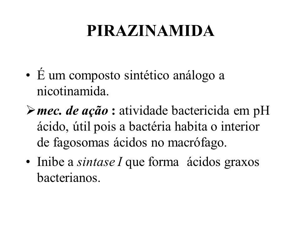 PIRAZINAMIDA É um composto sintético análogo a nicotinamida.