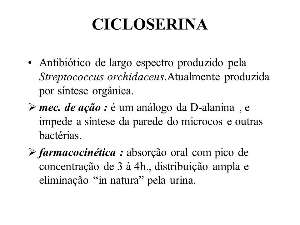 CICLOSERINA Antibiótico de largo espectro produzido pela Streptococcus orchidaceus.Atualmente produzida por síntese orgânica.