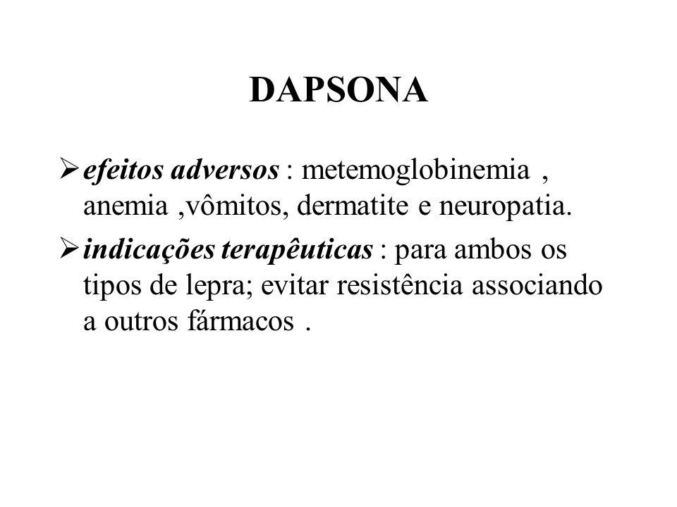 DAPSONA efeitos adversos : metemoglobinemia , anemia ,vômitos, dermatite e neuropatia.