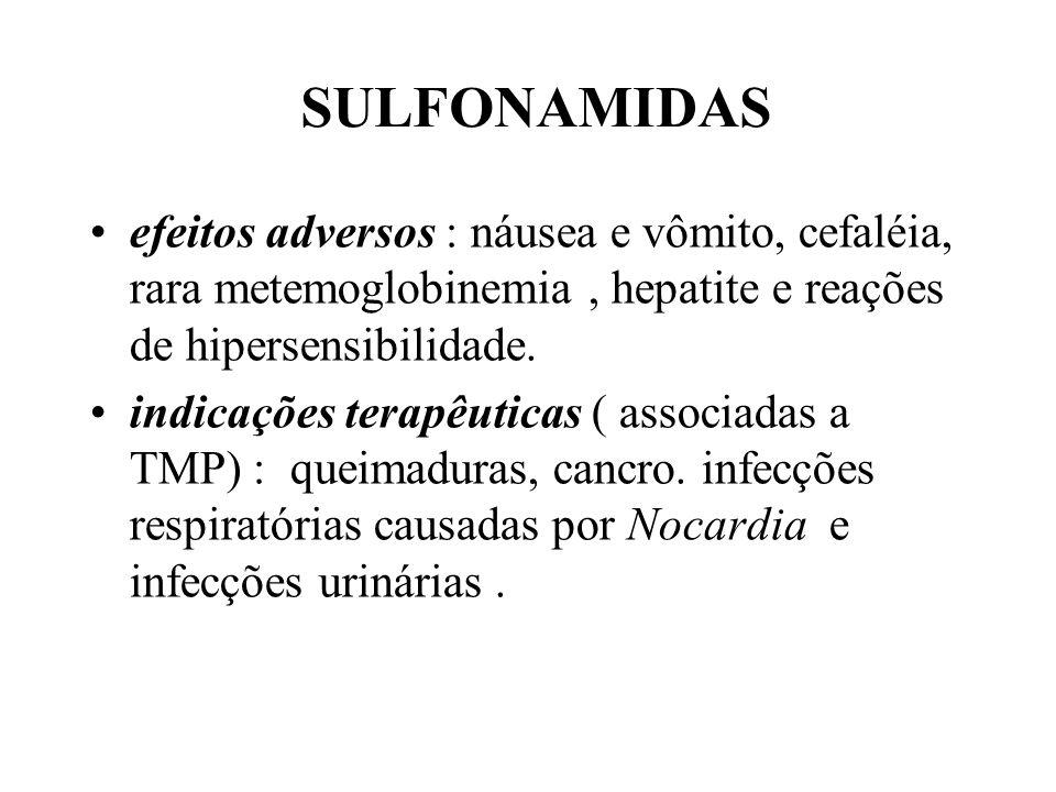 SULFONAMIDAS efeitos adversos : náusea e vômito, cefaléia, rara metemoglobinemia , hepatite e reações de hipersensibilidade.