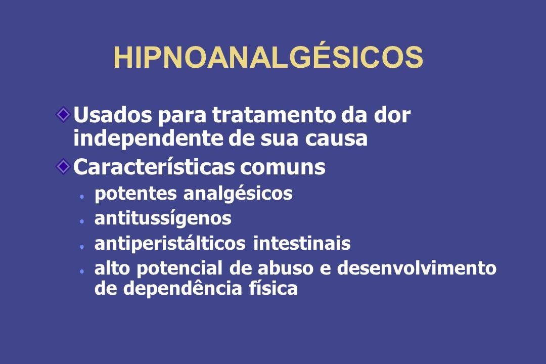 HIPNOANALGÉSICOS Usados para tratamento da dor independente de sua causa. Características comuns. potentes analgésicos.