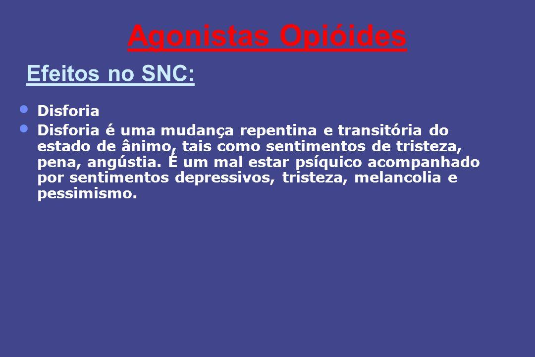 Agonistas Opióides Efeitos no SNC: Disforia