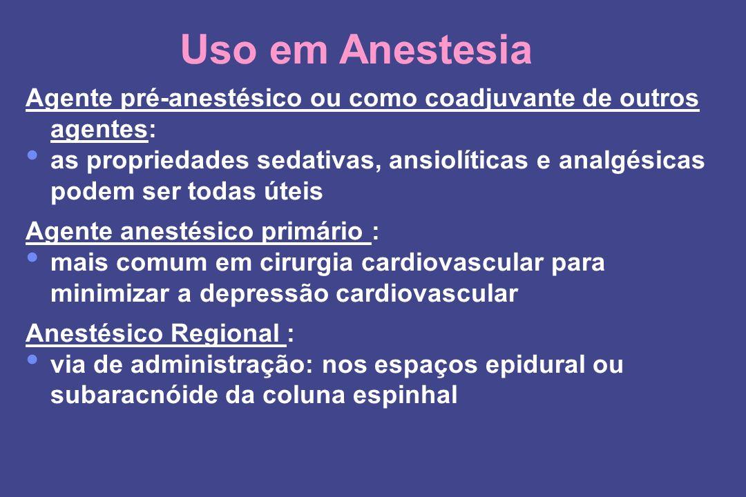 Uso em Anestesia Agente pré-anestésico ou como coadjuvante de outros agentes: