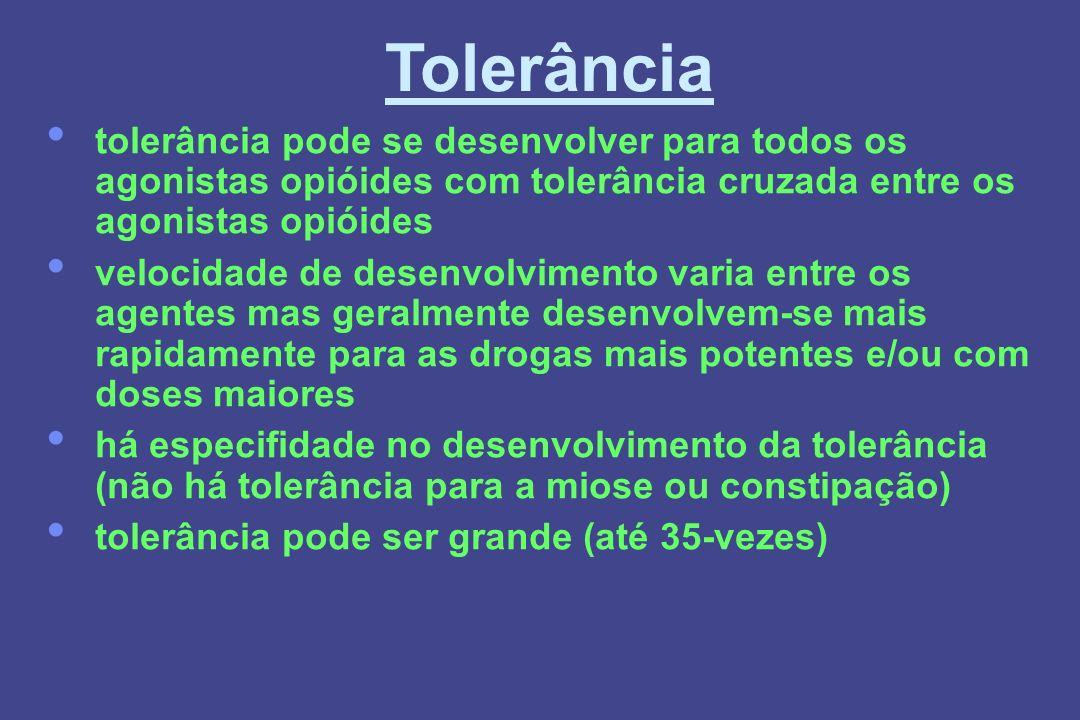 Tolerância tolerância pode se desenvolver para todos os agonistas opióides com tolerância cruzada entre os agonistas opióides.