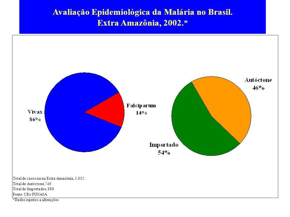 Avaliação Epidemiológica da Malária no Brasil. Extra Amazônia, 2002.*