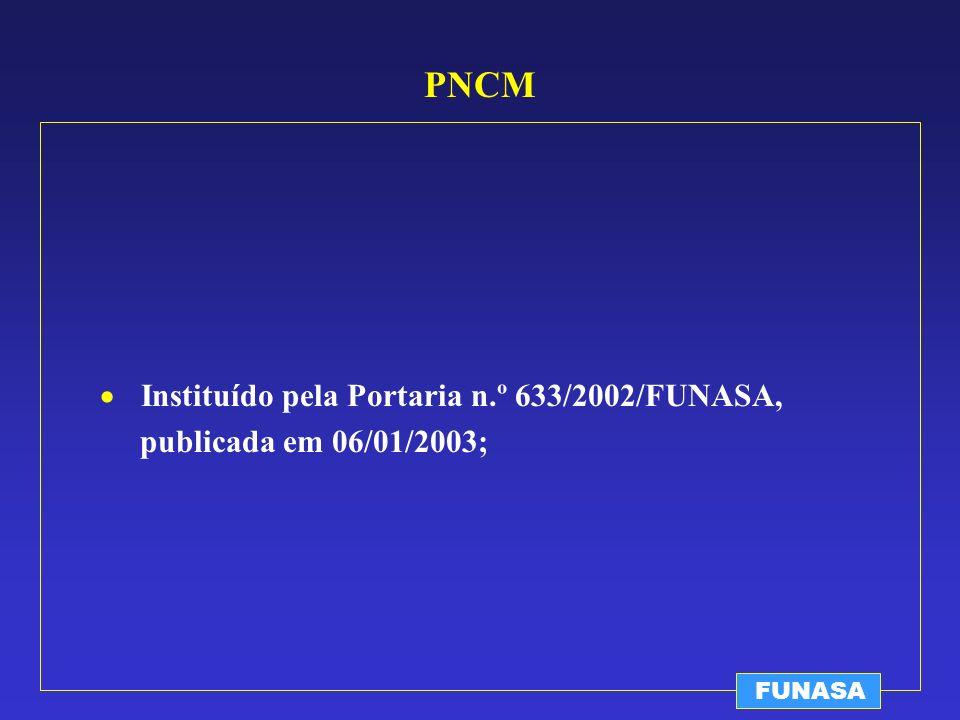 PNCM Instituído pela Portaria n.º 633/2002/FUNASA,