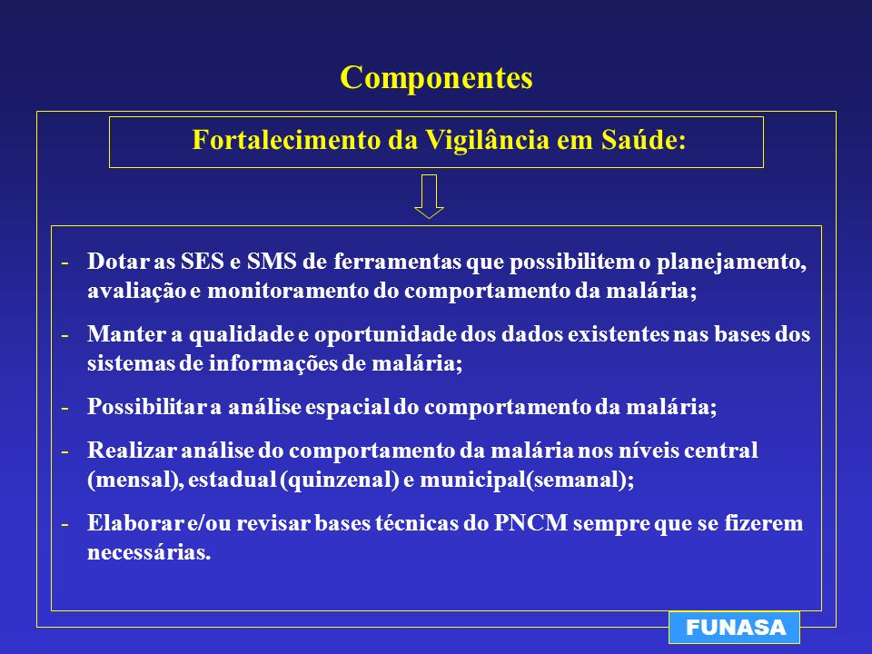 Componentes Fortalecimento da Vigilância em Saúde: