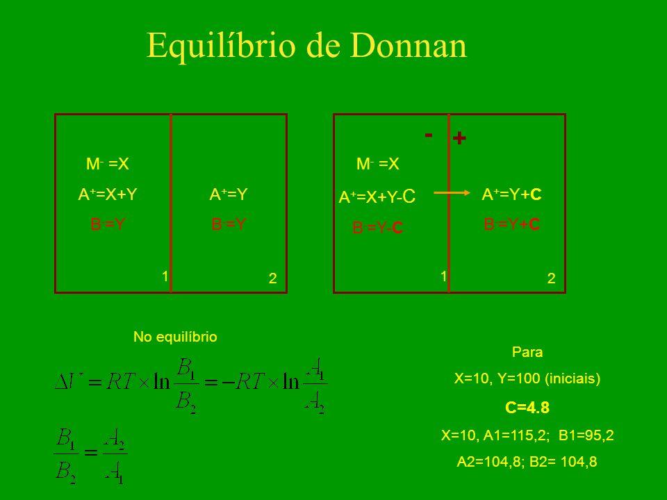 Equilíbrio de Donnan - + M- =X A+=X+Y B-=Y A+=Y M- =X A+=X+Y-C B-=Y-C