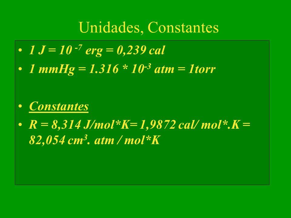 Unidades, Constantes 1 J = 10 -7 erg = 0,239 cal