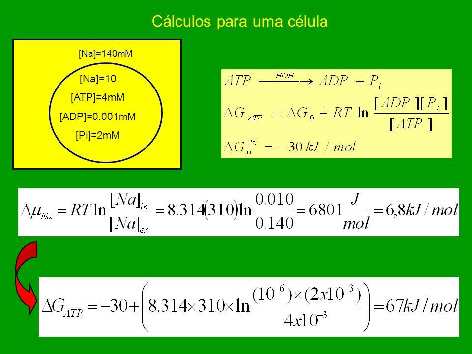 Cálculos para uma célula