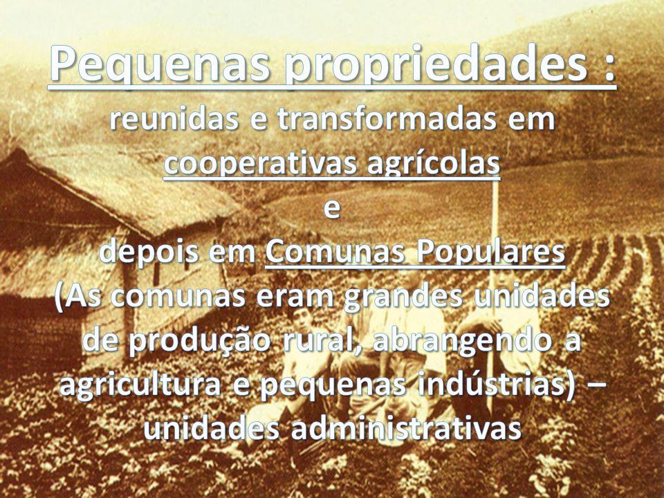 Pequenas propriedades : reunidas e transformadas em cooperativas agrícolas e depois em Comunas Populares (As comunas eram grandes unidades de produção rural, abrangendo a agricultura e pequenas indústrias) – unidades administrativas