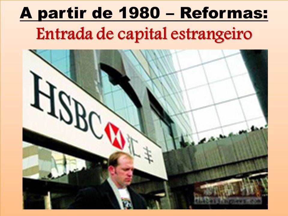 A partir de 1980 – Reformas: Entrada de capital estrangeiro