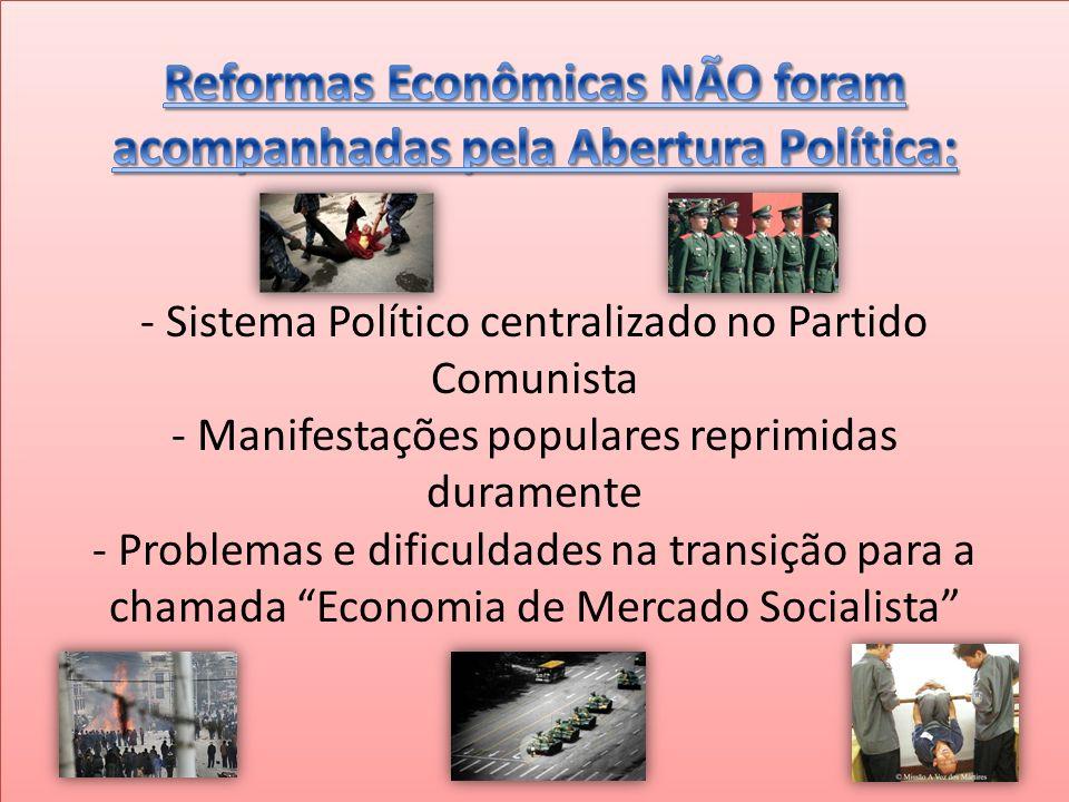 Reformas Econômicas NÃO foram acompanhadas pela Abertura Política: