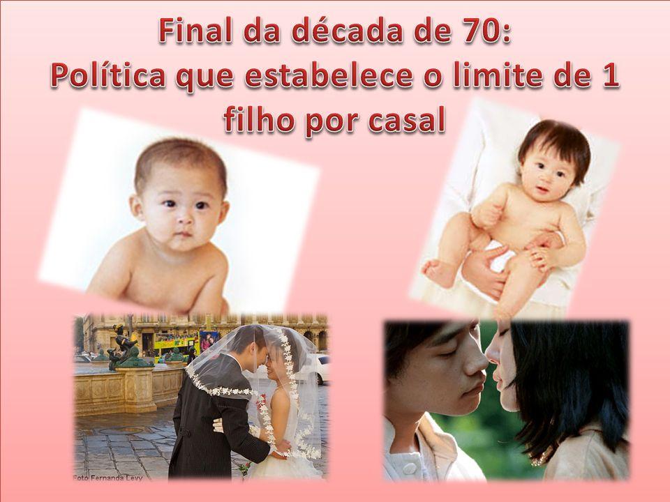 Final da década de 70: Política que estabelece o limite de 1 filho por casal
