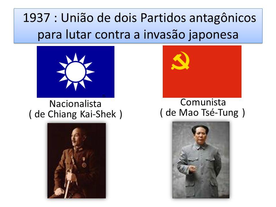 1937 : União de dois Partidos antagônicos para lutar contra a invasão japonesa
