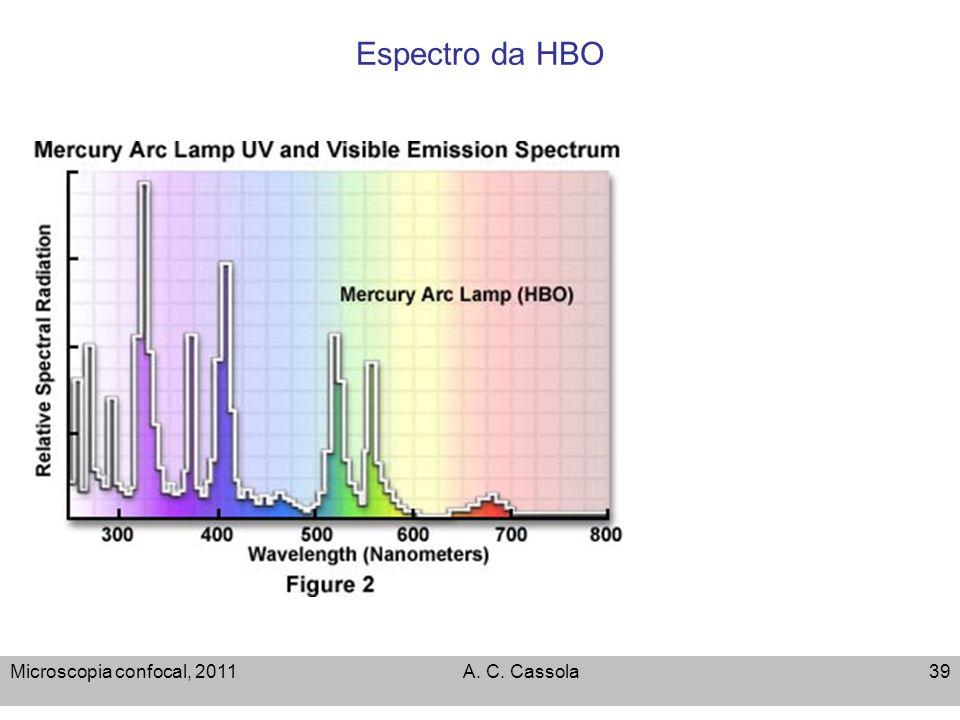 Espectro da HBO Microscopia confocal, 2011 A. C. Cassola