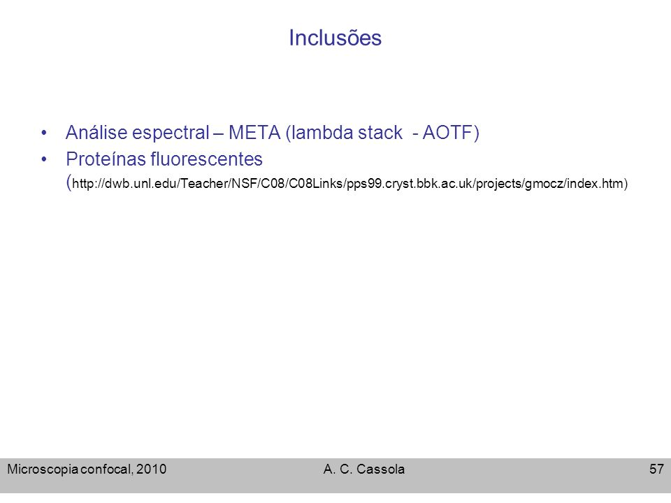 Inclusões Análise espectral – META (lambda stack - AOTF)