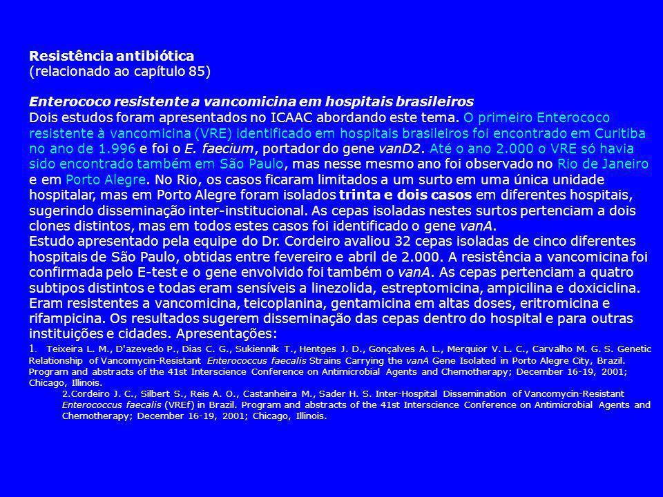 Resistência antibiótica (relacionado ao capítulo 85)