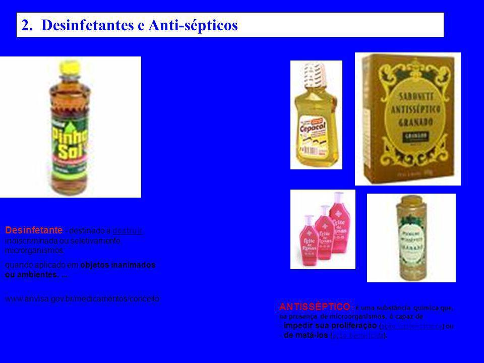 2. Desinfetantes e Anti-sépticos
