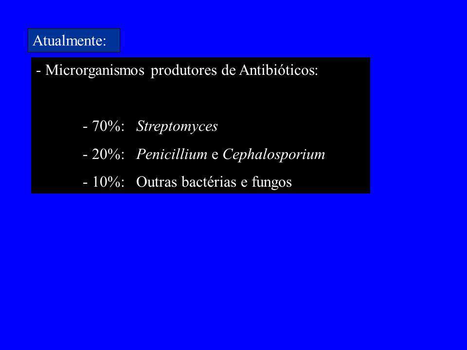 Atualmente: - Microrganismos produtores de Antibióticos: - 70%: Streptomyces. - 20%: Penicillium e Cephalosporium.