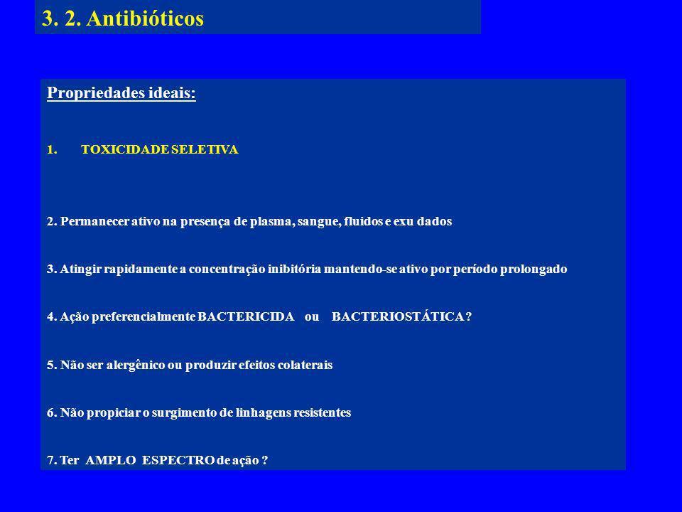 3. 2. Antibióticos Propriedades ideais: TOXICIDADE SELETIVA