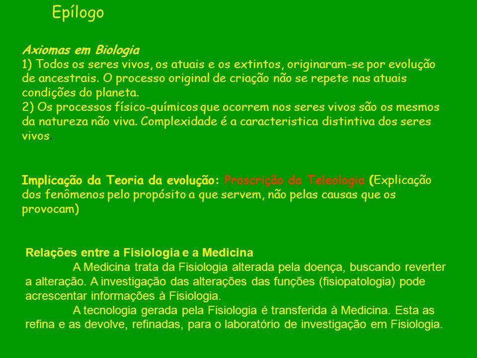 Epílogo Axiomas em Biologia