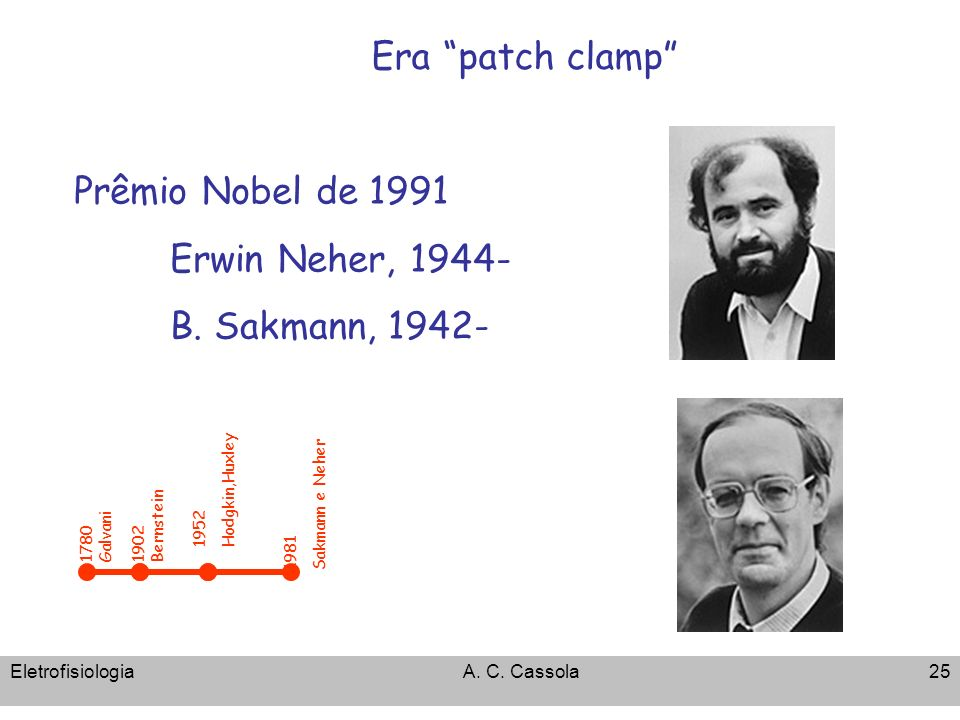 Era patch clamp Prêmio Nobel de 1991 Erwin Neher, 1944-