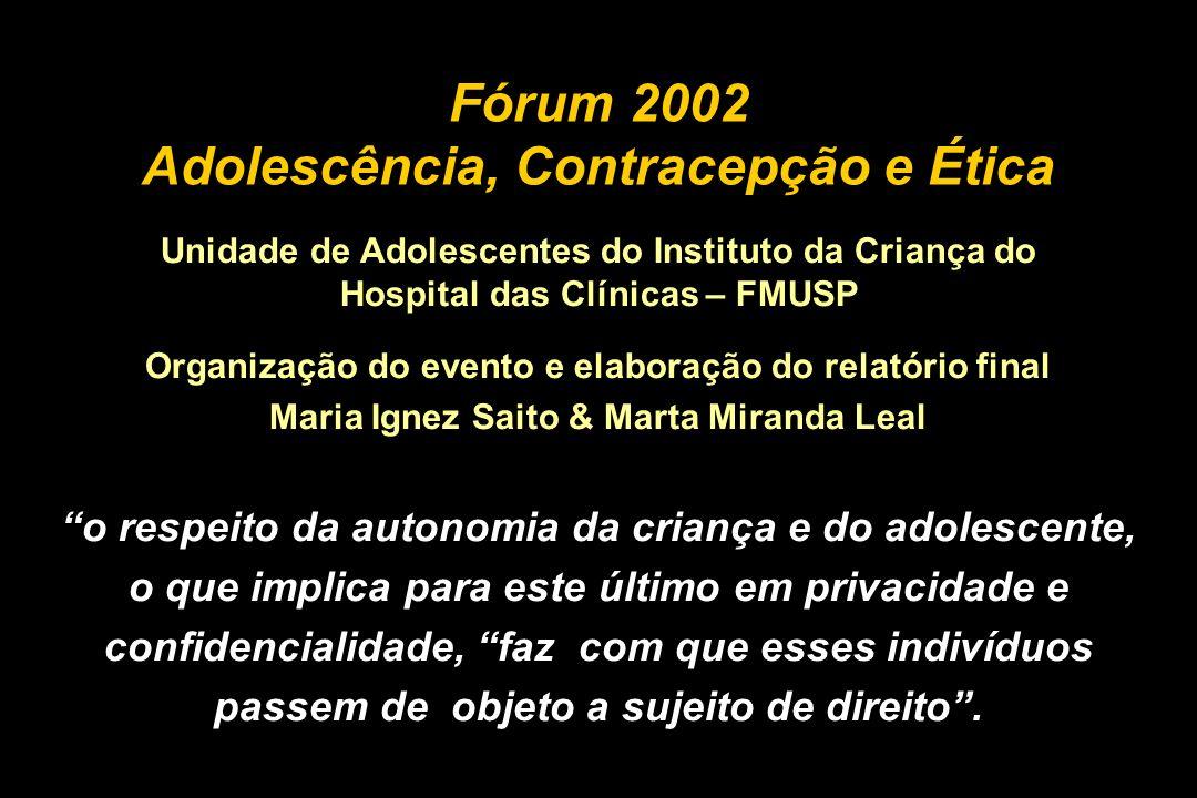 Fórum 2002 Adolescência, Contracepção e Ética
