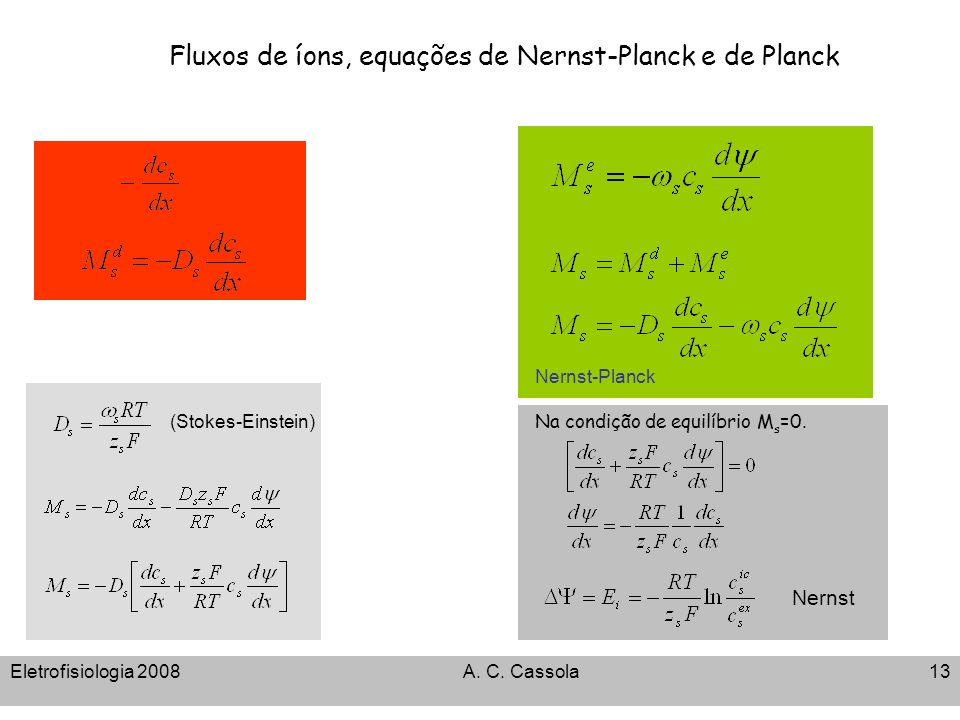 Fluxos de íons, equações de Nernst-Planck e de Planck