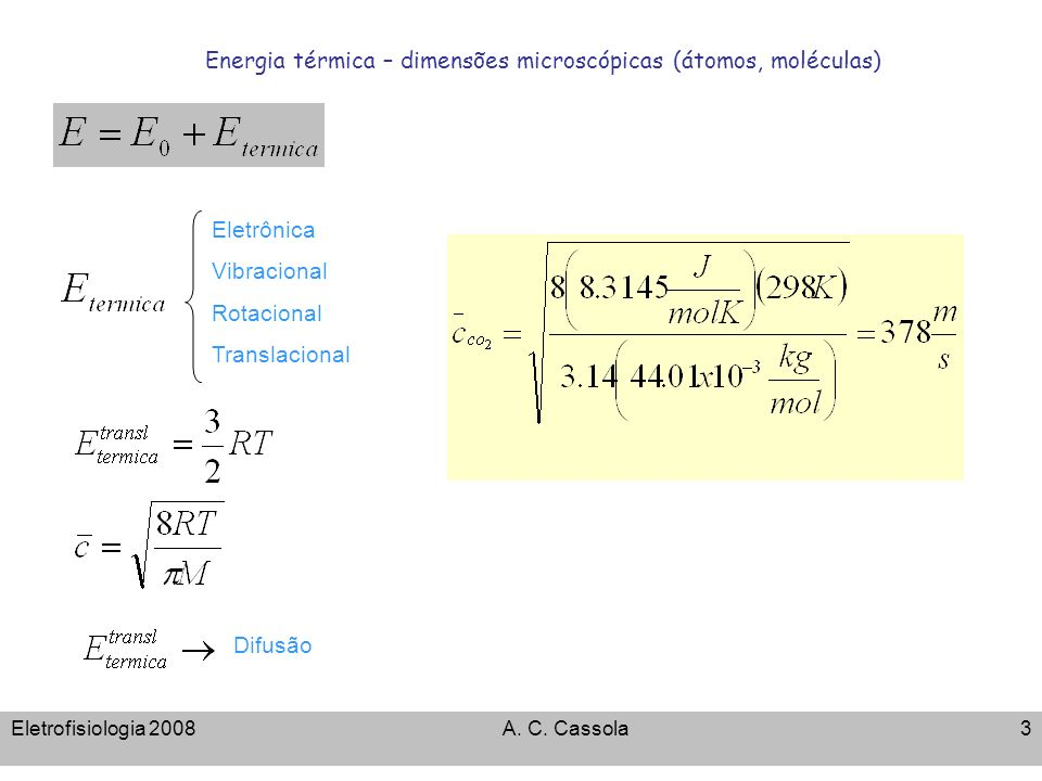 Energia térmica – dimensões microscópicas (átomos, moléculas)