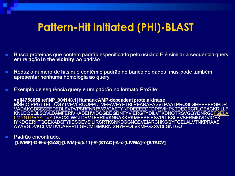 Pattern-Hit Initiated (PHI)-BLAST