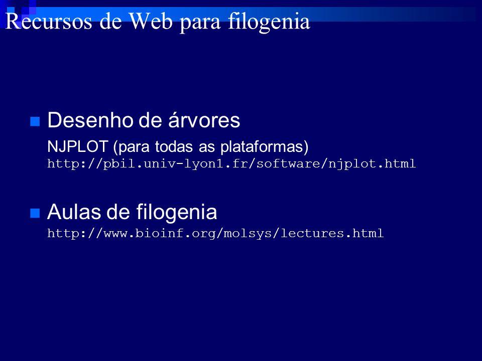 Recursos de Web para filogenia