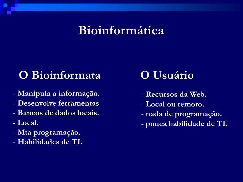 Bioinformática O Bioinformata O Usuário Manipula a informação.