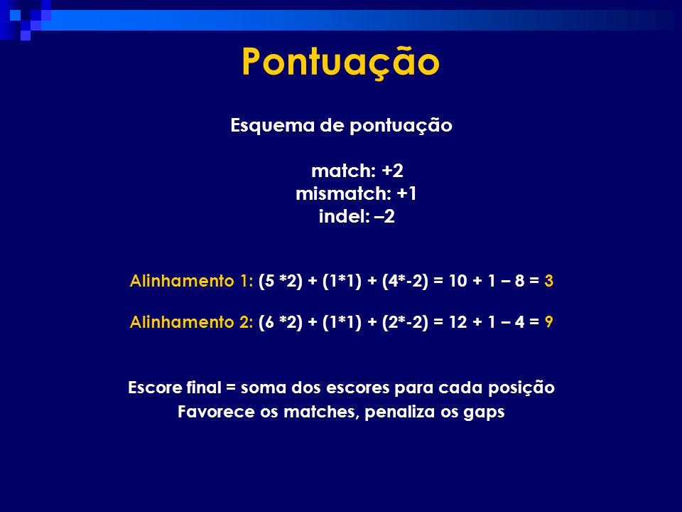 Pontuação Esquema de pontuação match: +2 mismatch: +1 indel: –2