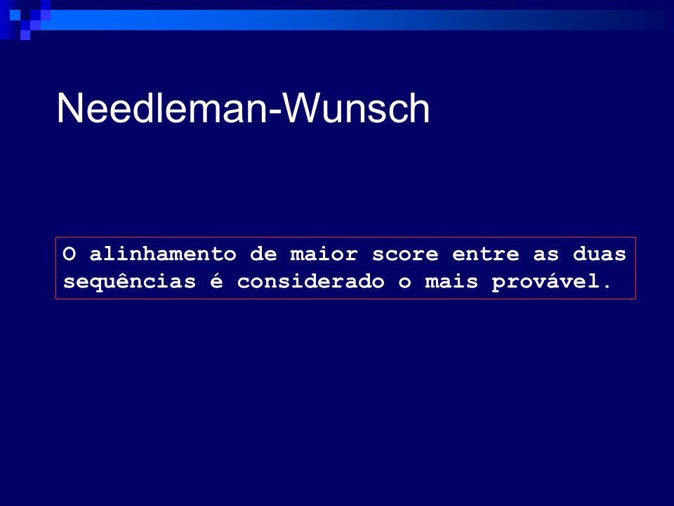 Needleman-Wunsch O alinhamento de maior score entre as duas
