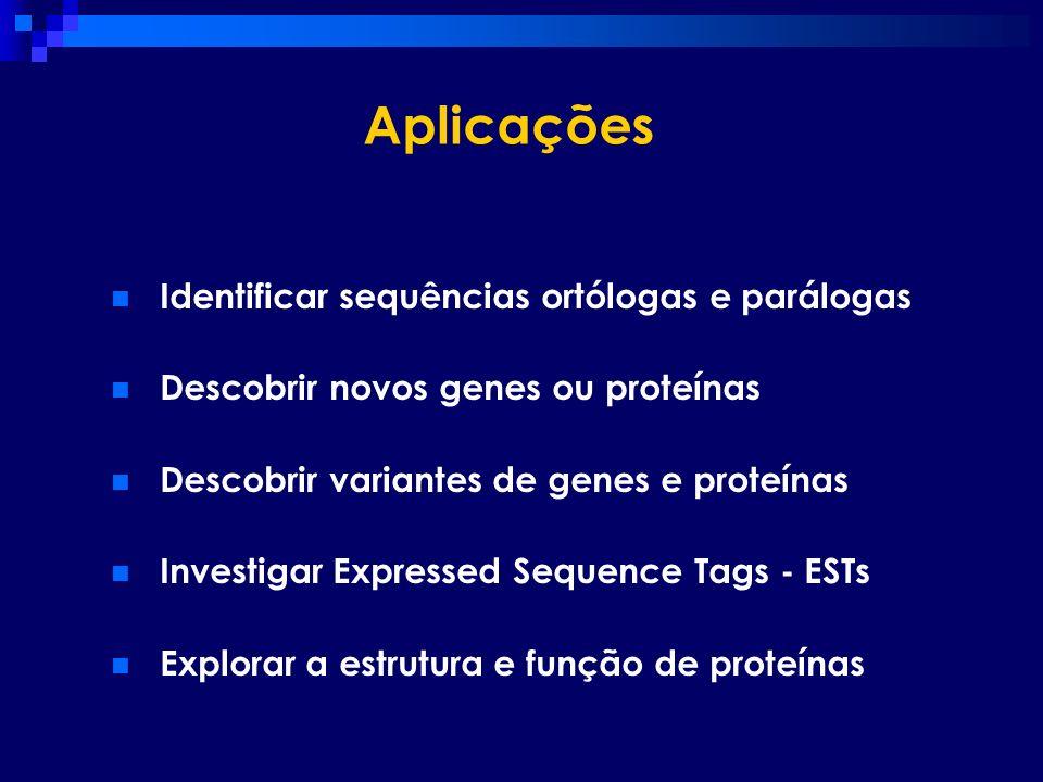 Aplicações Identificar sequências ortólogas e parálogas