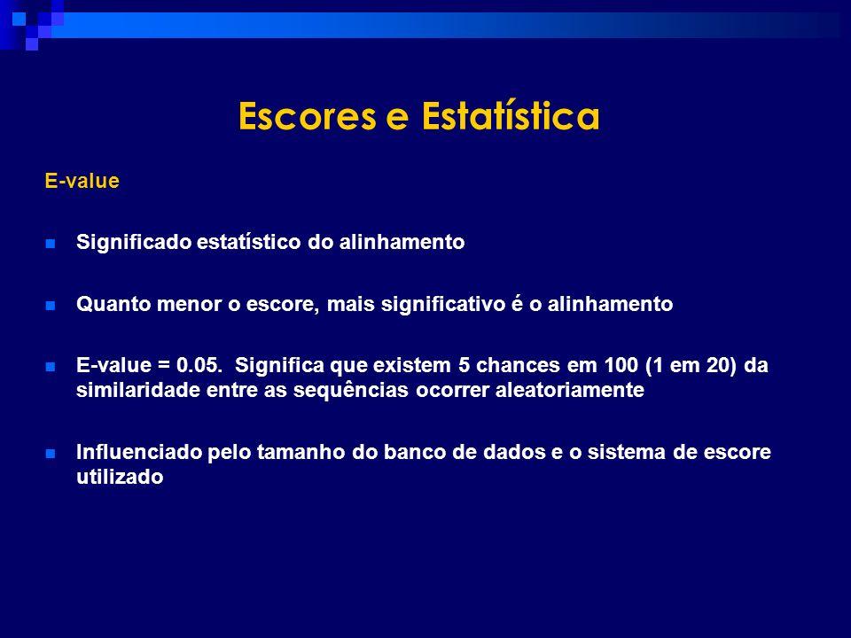 Escores e Estatística E-value Significado estatístico do alinhamento