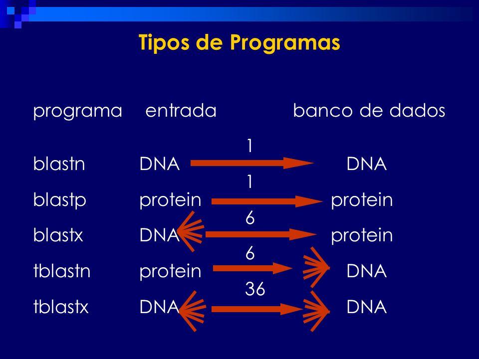 Tipos de Programas programa entrada banco de dados 1 blastn DNA DNA