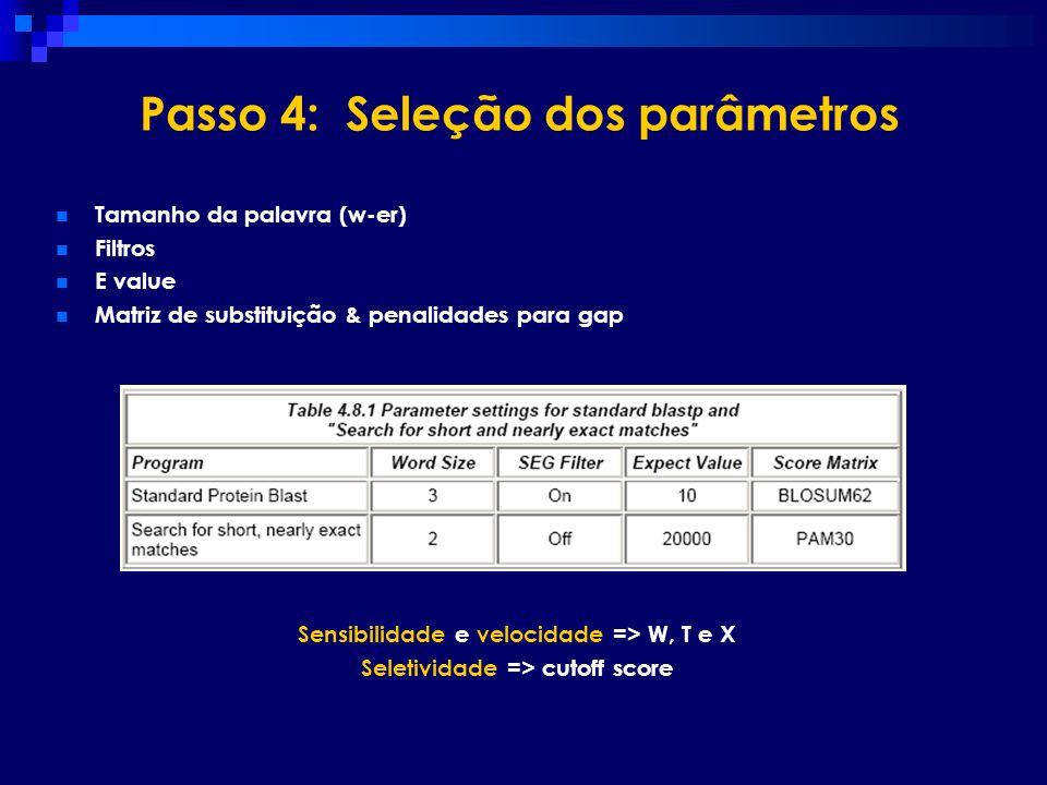 Passo 4: Seleção dos parâmetros
