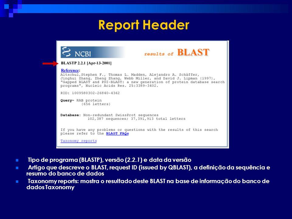 Report HeaderTipo de programa (BLASTP), versão (2.2.1) e data da versão.